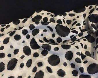 Polyester Chiffon Fabric 3 Yards Circles Ink Blot Pattern