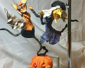 Primitive handsculpted Halloween Dancing Witch and Bat papermache clay decoration ornament art sculpture finished