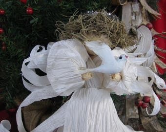 Christmas Angel Tree Topper Wedding Angel Centerpiece with Dove
