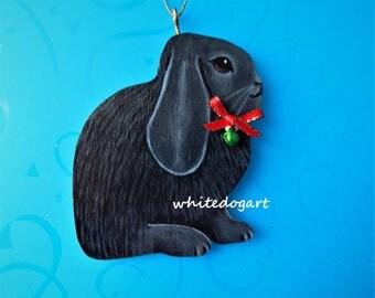 Handpainted Black Lop Eared Rabbit Christmas Ornament