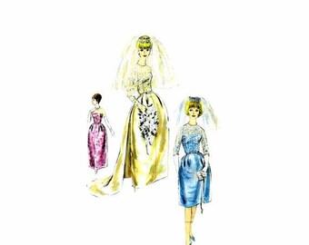 SALE 1960s Brides Wedding Dress Train Vogue 4298 Vintage Sewing Pattern Overblouse Coronet Veil Evening Gown Size 14 Bust 34 UNcut