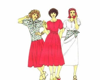 SALE 1970s Willi Smith Dress Top Skirt Scarf Butterick 5988 Vintage Sewing Pattern Size 10 Bust 32 1/2 UNCUT