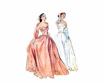 SALE 1950s Strapless Boned Evening Gown with Stole Butterick 6011 Vintage Sewing Pattern Size 12 Bust 30 Original
