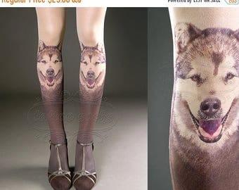 30%off/endsJUL23/ Tattoo Tights -  nude color one size Doggy full length printed tights closed toe pantyhose tattoosocks tattootights