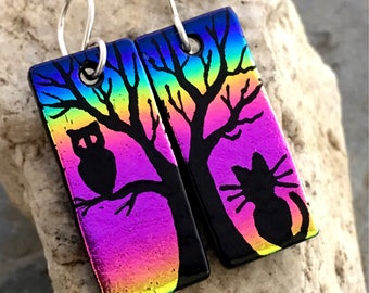 Cat, Tree & Owl Dichroic Glass Earrings - Hand Etched Split Design Pink Rainbow Glass Art