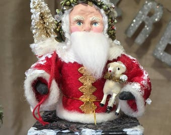 Father Christmas Spun Cotton Santa on Chimney Box Victorian Look Handmade Folk Art