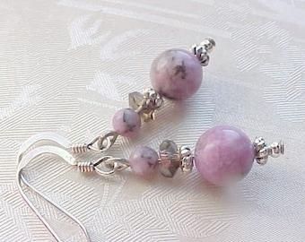 Genuine Lepidolite Earrings Purple Earrings Valentines Day Earrings Love Stone Earrings Girlfriend Gifts for Wives Metaphysical Earrings
