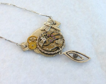 Steampunk Necklace --Vintage Watch Movement  SN311