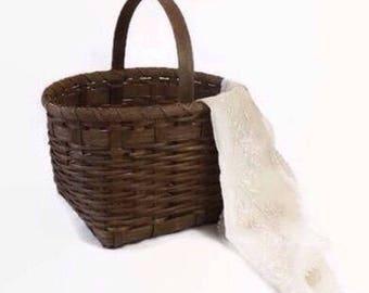 Woven Wood Basket, Primitive Farmhouse Home Decor, Vintage Garden Gathering or Easter Basket