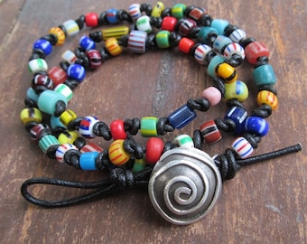 Triple Wrap BRACELET African Trade Bead Leather WRAP Bracelet Hippie Colorful Silver Button Leather Beaded Bracelet Multicolor Wrap Bracelet