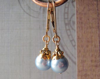 Blue Swarovski Pearl Earrings 14k Gold Filled Ear Wire 8 mm Crystal Pearl Dangle Gift Boxed