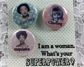 "Girl Power Pins-Feminist 1"" Pin Set/ Woman Power Pins-Empowering Women Pins- Encouragement Pins- Feminism Pins"