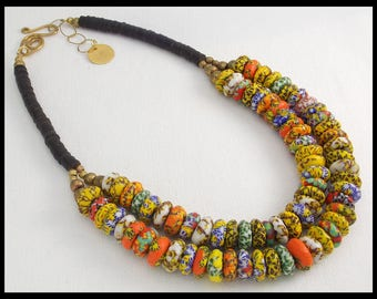 GHANA - Handmade African Fused Glass & Coconut Shell Heishi 2 Strand Statement Necklace