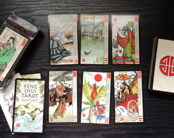 Feng Shui Tarot Kit - 78 Cards with Hand Made Pouch and White Sage Smudge Stick