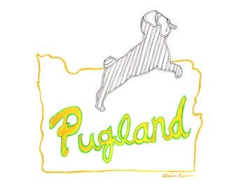 Portland Oregon Art Print, Pug Print, Pug Decor, Hispter Art, College Student Gift, Housewarming Gift,Pug Lover Gift,Pet Lover Illustration