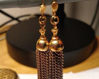 Flash Sale Vintage Boho Burlesque Long Gold Chandelier Chain Tassel Earrings Pierced