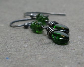 Chrome Diopside Earrings Emerald Green Dangle Oxidized Sterling Silver Earrings Gift for Her