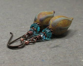 Mustard & Aqua Blue Bead Earrings Niobium Hypoallergenic Rustic Boho Earrings Statement Jewelry