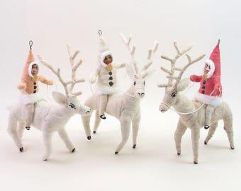 Vintage Inspired Spun Cotton Single Deer Rider Figure/Ornament