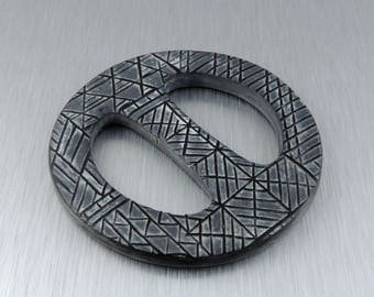 Scarf Buckle - Scarf Ring - Black and White Polymer Clay