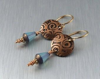 Etched Copper Earrings - Copper and Blue Earrings - Copper Drop Earrings