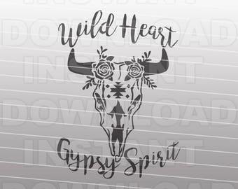 WILD HEART Gypsy Spirit Cow Skull SVG File,Boho svg file - cricut svg,silhouette svg,svg cut,cuttable svg,svg cut file,vector svg,tshirt svg