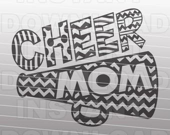 Cheer Mom SVG File - Cheerleading Megaphone SVG File - Commercial & Personal Use - file for Cricut,svg file for Silhouette,vinyl cutting