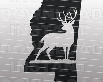 Deer Hunting Buck Mississippi SVG File Cutting Template-Clip Art for Commercial/Personal Use-vector art file Cricut,SCAL,Cameo,Sizzix,Vinyl