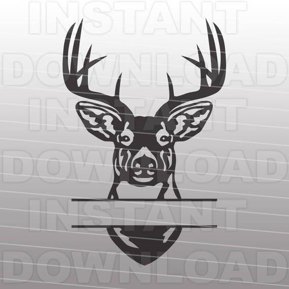buck head deer hunting monogram split svg file cutting template