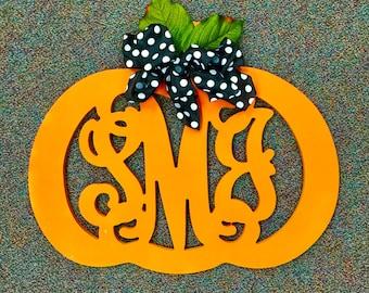 Custom MONOGRAM Initial Letter PUMPKIN/door hanger/orange/autumn/wall hanging/fall pumpkin wreath/24 inch/wooden/front door decor