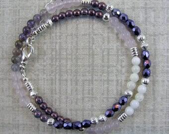 Amethyst and Mother of Pearl Gemstone Wrap Beaded Bracelet or Choker - Item 1071