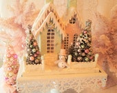 Shabby PinK & Mint Putz House - Lighted with Bottle Brush Trees