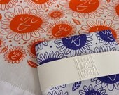 Happy Flower Face Hankie - screenprinted cotton handkerchief