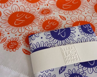 Happy Flower Face Hankie - screenprinted cotton handkerchief