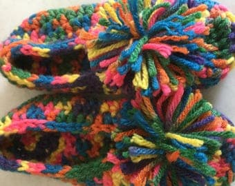 MultiColor Crochet Child Slippers Age 4/5