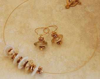 Gold Lampwork Bead Necklace Glass Spacer Necklace White and Bronze Beaded Glass Saucer Bead Jewelry Glass Disc Necklace