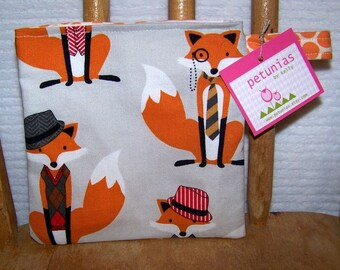 Reusable Little Snack Bag - pouch adults kids foxes eco friendly by PETUNIAS