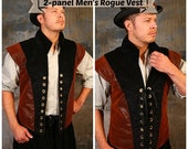 May Sale-30% OFF- SIZE S Faux Leather & Solid Black 2-panel Men's Rogue Vest