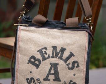 Bemis Two Bushel Bag - Book Tote W- OOAK Canvas & Leather Tote .. Selina Vaughan