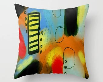 Original Abstract Art Decorative Throw Pillow My Funky and Colorful Abstract Digital Painting