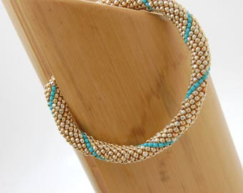 Fortune Cookie Beadwoven Bangle