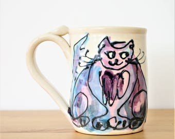 Vintage Handmade Ceramic Cat Coffee Mug, Rare Kitty Pottery Mug, Cat Lovers Tea Cup, Novelty Cat Mug, Handmade Cat Cup,Blue,Purple,Black Cat