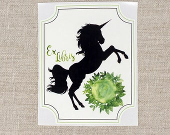 unicorn bookplates - green unicorn bookplate stickers - Ex Libris - fantasy bookplates - personalized gift - custom book plates - bookworm
