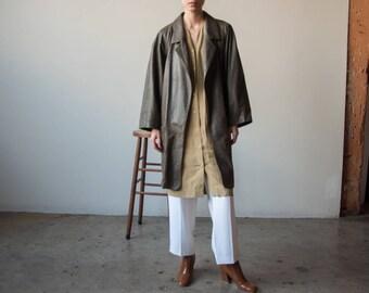 green animal imprint leather oversized coat / minimalist leather coat / s / m / 2345o / R4