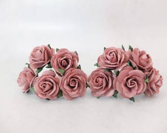 "10 25mm red mauve paper roses - 1"" mulberry paper roses with wire stems"
