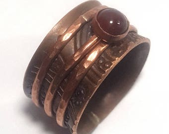 Copper and Carnelian triple band meditation ring
