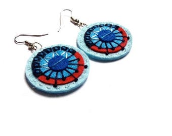 HALF PRICE Summer Sale AZTEC Earrings - Felt and hand embroidery