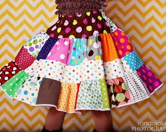 The MUST HAVE for bigger girls  Twirl the Dots - tiers of dots to twirl and swirl in this patchwork skirt.  5T-12Y