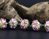 Lampwork Glass Floral Round Set Ivory Color Pink Silvered Glass