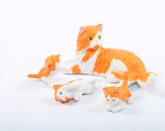 Kitty In My Pocket, Blossom, Tortoiseshell, Family, Mother Cat, Three Kitties, Orange, White, Vintage Toys, Hasbro ~ The Pink Room ~ 170318